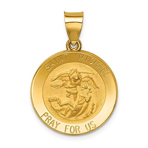 14k Yellow Gold Saint Michael Medal Pendant Charm Necklace Religious Patron St Fine Jewelry Gifts For Women For Her