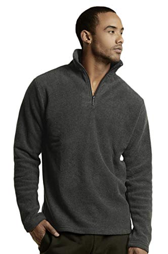 Knocker Men's Polar Fleece Quarter Zip Pullover (M, Charcoal)