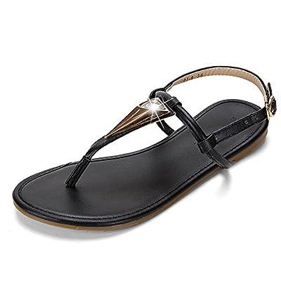 Meeshine Women Summer Flat Sandals Shoes Rhinestone Ankle Strap Flip-Flops