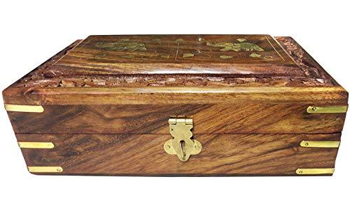 Rosewood Hand Carved Jewelry Keepsake Box Trinket Storage Organizer with Intricate Carvings Decorative Elephant Brass Inlay (Winter Centrepieces)