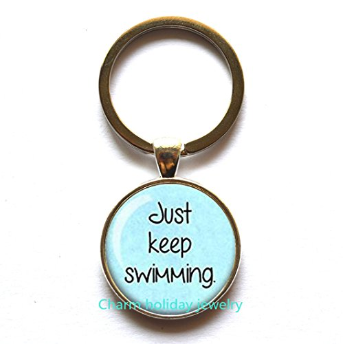 Just keep swimming Keychain, funny Keychain,unique gifts, silver Keychain, sperm, inspirational, funny gift,religious gift,inspirational quote (Halloween Sales Motivation)