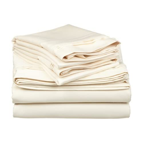 Top Laxlinen 300 Thread Count 100% Egyptian Cotton Super Quality 1PC Flat Sheet(Top Sheet) King/ Standard Size, Ivory Solid hot sale