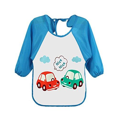 Vibola Baby Bib Smock Toddler Kids Fruits and vegetables print waterproof Long Sleeve Cartoon Polar Fleece Feeding Art Apron (C, M)