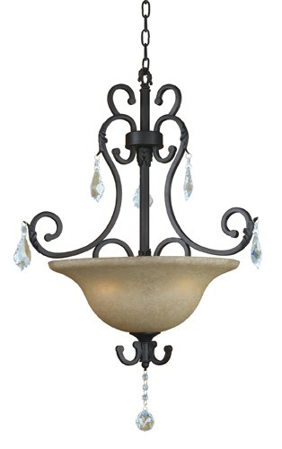 (Yosemite Home Decor 83151-3SS Jessica Three Light Foyer Pendant with Egyptian Crystals and Brown Cyan Glass in Sierra Slate Finish, 27.5