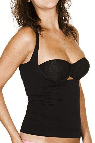 Black Fuchsia Seamless Slimming Shapewear Under Bra Shaping Tank (Black,S)