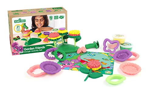 Green Toys SSDFM-1322 Sesame Street Garden Friends Dough Activity Set, Multi