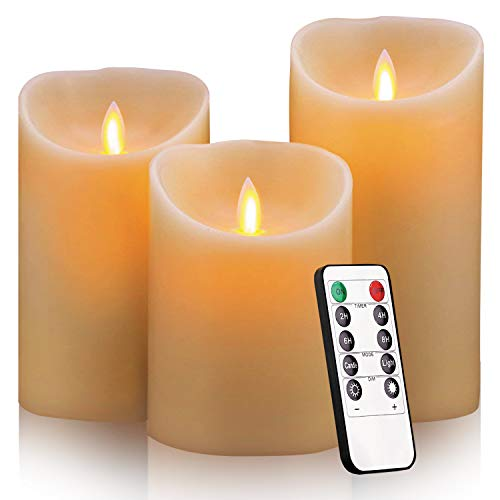 Flameless Candles, 4 5 6 Set of 3 Real Wax Not Plastic Pillars, Include Realistic Dancing LED Flames and 10-Key Remote Control with 2/4/6/8-hours Timer Function,300+ Hours (3X1)