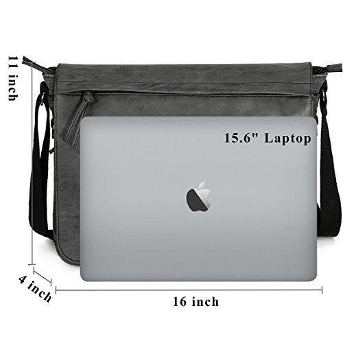 "Mens Laptop Messenger Bags 15.6"" Water Resistant Shoulder Bag Tocode PU Leather Canvas Satchel Crossbody Bags Brifecase Office Bag Large Computer Bag for Work College School Travel, Black by Tocode (Image #3)"