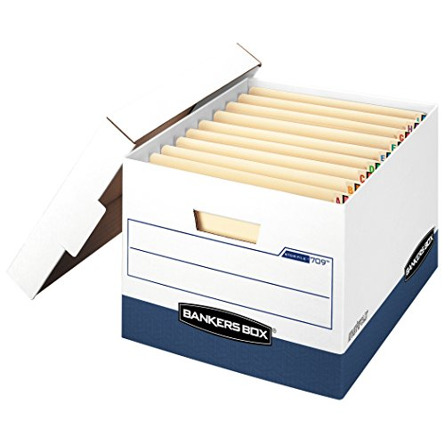 Bankers Box Side Tab Storage - Bankers Box STOR/FILE Heavy-Duty Storage Boxes, FastFold, Lift-Off Lid, Fits End Tab Files, Letter/Legal, Case of 12 (00709)