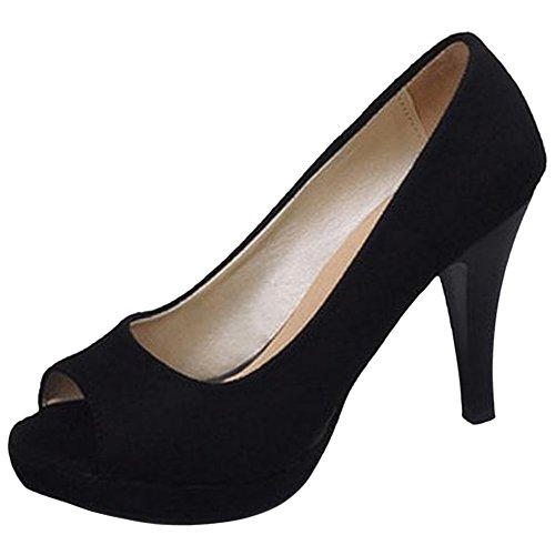 Escarpins JOJONUNU Noir Toe Femmes Peep Oqtw1r8O