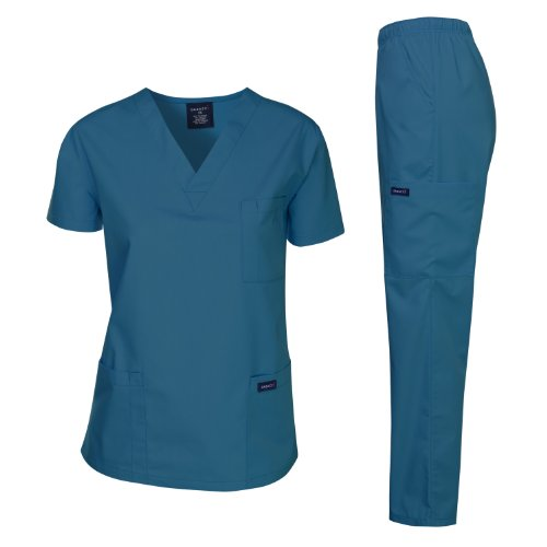 Dagacci Medical Uniform Women's Medical Scrub Set Top and Pant, Caribbean, XXL ()