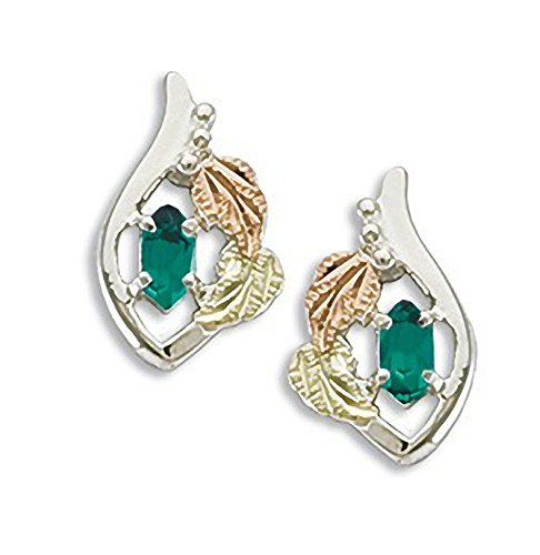 May Birthstone Black Hills Gold on Silver Earrings with 5 X 2.5 MM Synthetic Soude - Earring Synthetic Emerald