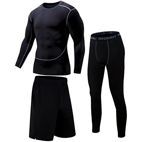 被るイデオロギー促進するコンプレッションウェア セット メンズ スポーツウェア トレーニングウェア 長袖 吸汗速乾 ハーフパンツ タイツ
