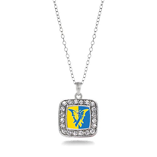 Inspired Silver - Down Syndrome Awareness Charm Necklace for Women - Silver Square Charm 18 Inch Necklace with Cubic Zirconia Jewelry