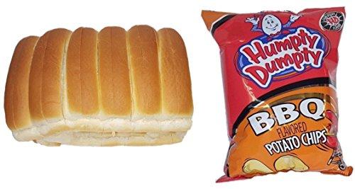 New England Split-top Frankfurter Hot Dog Rolls (12 count) and Humpty Dumpty BBQ Chips (1-7oz bag) (Split Top Hot Dog Rolls)