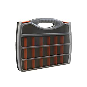 Small Parts Organizer with Handle – Portable Storage Case with Small Bin Compartments for Hardware, Screws, Bolts, Nuts, Nails, and More by Stalwart