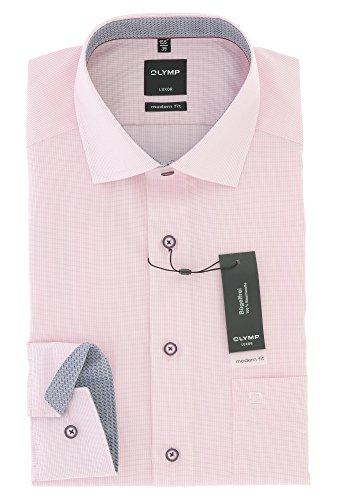 OLYMP Modern Fit Herren Langarm Hemd Luxor mit Global Kent Kragen Rose Gr. 39 - Bügelfrei