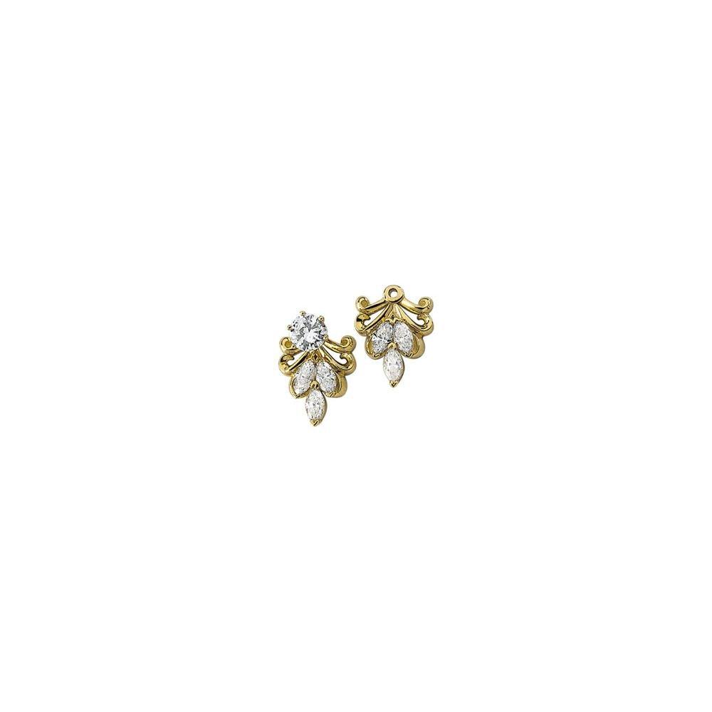 STU001- 14K Yellow 9/10 CTW Diamond Earring Jackets