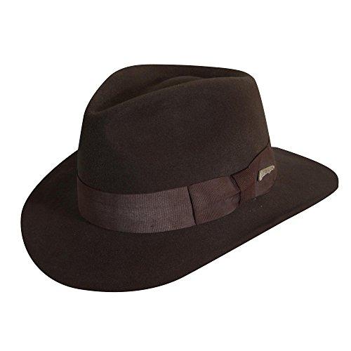 Indiana Jones Fedora (Indiana Jones Men's Crushable Wool Felt Fedora, Brown, X-Large)