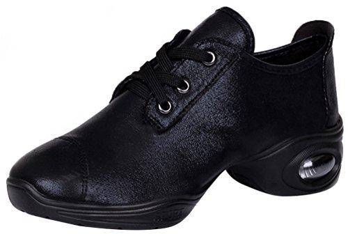 Abby 282 Femmes Jazz Split Semelle Lace Up Bout Rond Bas Haut Frais Moderne Boot Chaussures De Danse Noir