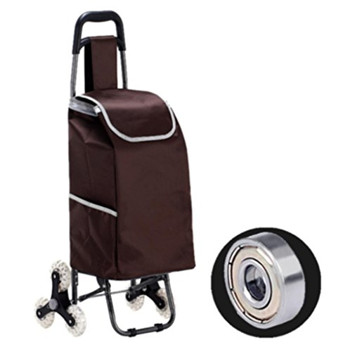 Amazon.com: LUCKYYAN Lightweight Shopping Trolley Folding 6 Wheel Large Capacity Shopper , brown: Home & Kitchen