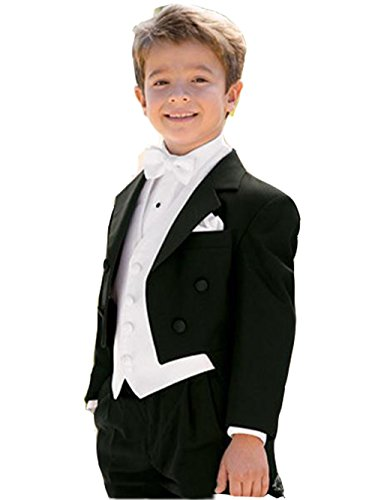 Brightmenyouth Boy Tailcoat One Button Boy Tuxedos Notched Lapel children Suit Kids Wedding/Prom Suits Three Piece Suit (Notch Tuxedo Tailcoat)