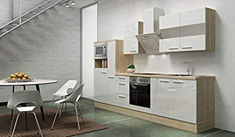 Respekta Premium Empotrable Cocina Cocina Pequeña 300cm Acacia Blanco Brillante Ceran Circulación de Aire: Amazon.es: Hogar