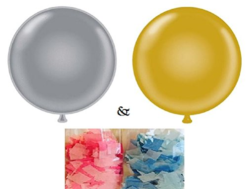 Pin Bombs Away (XL Gender Reveal Party Balloon Pop - Gold & Silver with Shredded Confetti - He or She Boy or Girl - Includes 2 Jumbo 36
