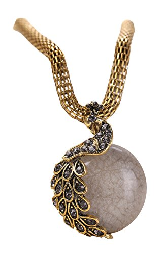 [Veenajo New Hot Fashion Retro Bohemia Cats Eye Stone Crystal Phoenix Peacock Pendant Necklace-gray] (Easy Homemade Panda Costumes)