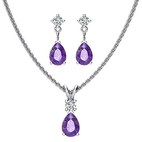Sterling Silver Jewelry Set for Women Natural Pear shaped 7x5mm Amethyst and 3mm Natural White Topaz Pendant Necklace and Matching Pear Shaped Amethyst & White Topaz Stud Earrings