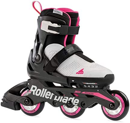 Rollerblade Microblade Free 3WD Kid's Size Adjustable Inline Skate, Grey and Candy Pink