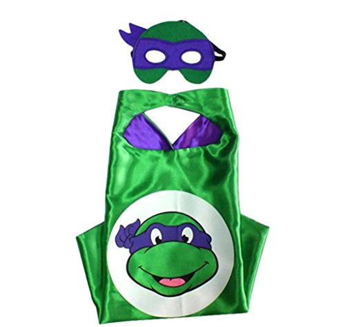 Superman Costume For Teenage Girls (Cartoon Costume - TMNT Don Turtle Logo Cape and Mask with Gift Box by Superheroes)