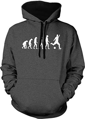 Evolution to Soccer - Futbol Sports Unisex Two Tone Hoodie Sweatshirt (Charcoal/Black Strings, Medium)