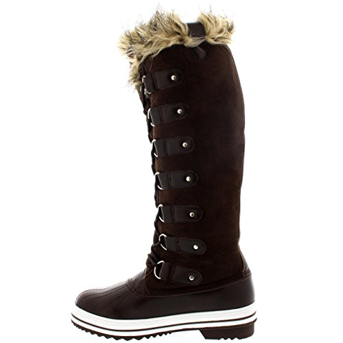 Mujer Manguito De Piel Cordones Caucho Altura De La Rodilla Zapato Bota Marrón Suede