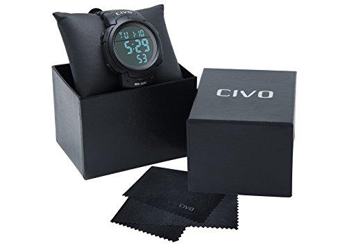 Reloj Deportivo Hombres CIVO Multifuncional Militar Números Grandes a Prueba de Agua Digital Diseño Simple Business Casual Reloj Negro: CIVO: Amazon.es: ...