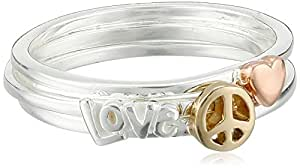 """Tri-Colored Sterling Silver with Yellow and Rose Gold Flashed Triple Stack Ring with """"Love"""" Heart and Peace Sign Ring, Size 8"""