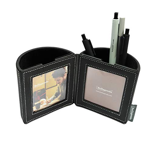 Bellagenda Desk Organizer Picture Frame| Pen Pencil Holder with Photo Frames | Desk Decoration | Multiple Picture Frame | Functional Desk Stationery | Space Saver | PU Leather & Suede (Black)