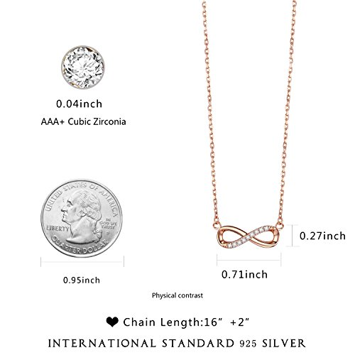 F.ZENI Women Necklace Infinity Forever Love 925 Sterling Silver 18K Yellow Gold Rose Gold plated Pendant Delicate Choker for Women Girls with Gift Box 16''-18'' by F.ZENI (Image #2)