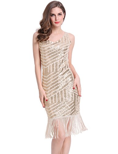 [KAYAMIYA Women's 1920s Sequined Fringe Gatsby Flapper Evening Dress S Gold] (Gold Flapper Dress)