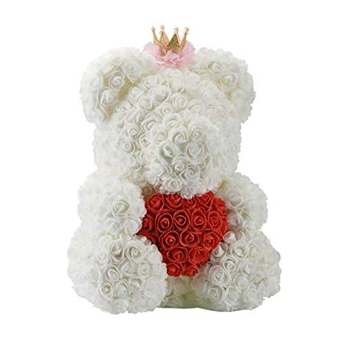 (SODIAL Festival Souvenir Gifts 25Cm Rose Bear Creative Pe Artificial Rose Toy to Girlfriend Fake Flowers for Valentine's Day Love Gift White and Red Crown Heart)