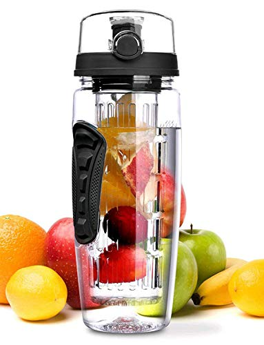 OMORC 32 OZ Sport Fruit Infuser Water Bottle, Flip Top Lid & Dual Anti-Slip Grips, BPA Free Infuser Water Bottle, Free Recipes and A Cleaning Brush Gifts, Ideal for Your Office and Home (Water Bottles Fruit)