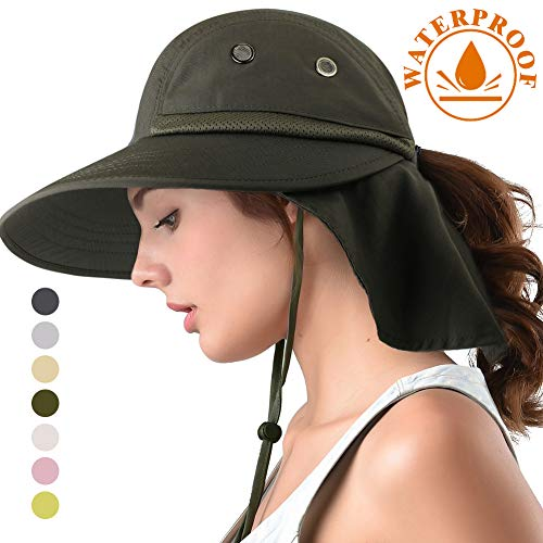 camptrace Safari Sun Hat Wide Brim Fishing Hat with Neck Flap for Women Ponytail Packable Sun Protection UPS UPF for Hiking Hunting Camping