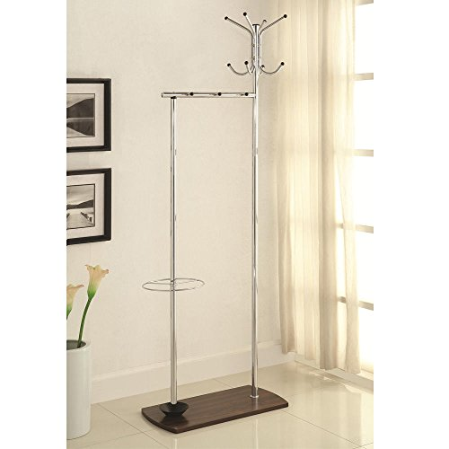 1PerfectChoice Transitional Hallway Coat Rack Clothing Garment Hat Hanger Umbrella Stand Metal