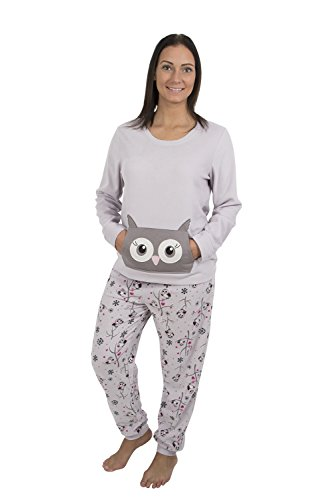 Alkii Womens Light Weight Fleece Pajama Set with Kangaroo Pockets