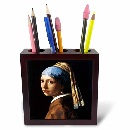 3dRose ph_128108_1 Girl with a Pearl Earring by Jan Vermeer Tile Pen Holder, 5