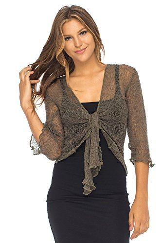 Cardigan Front Tie Knit - Back From Bali Womens Lightweight Knit Cardigan Shrug Lite Sheer Olive