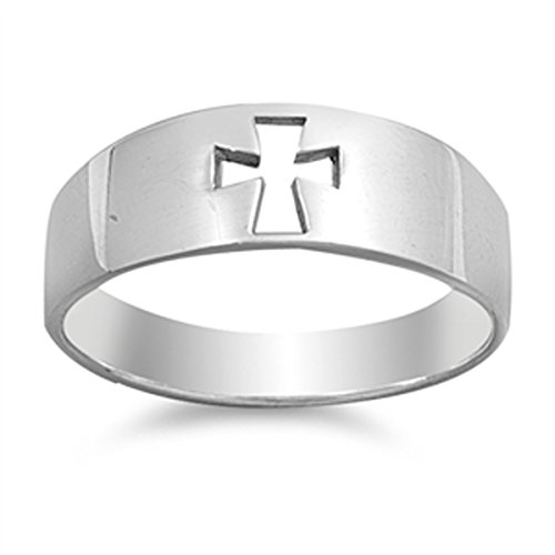 Large Cut Out Cross Ring (Sterling Silver Women's Cutout Cross Ring (Sizes 4-13) (Ring Size 6))