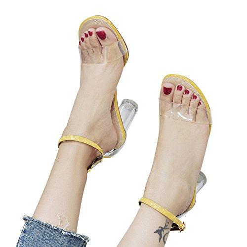 De À Hauts Hauts Soirée Chaussures Bout En Femmes Sandales Transparents Épais Ouvert Cristal Jaune lanskirt Talons wHpqTR
