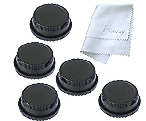 Fotasy RBC2 2x Rear Lens Cover and Camera Body Cap Set, Cleaning Cloth for Canon EOS DSLR (Black) from FOTAC