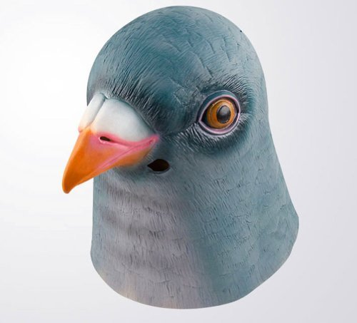 Pigeon Mask (Gmasking Natural Latex Green Pigeon Mask Costume+Gmask Helmet Keychain)